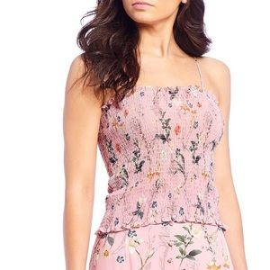 Gianni Bini Stacey Smocked Chiffon Floral Blouse